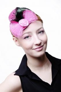 Fascinator Miniatur Hut Mini Zylinder Pink Rosa Damen Burlesque Pailletten H30 - Vorschau 4