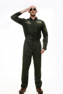 DRESS ME UP Kostüm Herren Kostüm Pilot Kampfpilot Overall Airforce M/L M-052