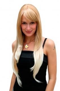 Perücke Damenperücke Blond Mix sehr lang Pony gescheitelt glatt 70cm 3111-27T613