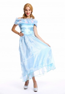 Frauen Kostüm Damenkostüm Karneval Prinzessin Fee Ballkleid hellblau M W-0220