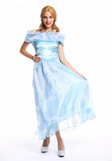 Frauen Kostüm Damenkostüm Karneval Prinzessin Fee Ballkleid hellblau S W-0220