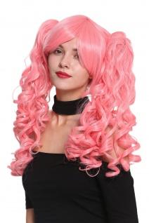 Perücke Damenperücke Cosplay kurz wild gescheitelt 2 lange lockige Zöpfe rosa - Vorschau 1