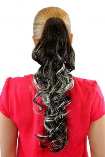 Extension Zopf Haarteil Braun Blond Mix gesträhnt Zopf lockig 50cm XF0053A-8H113