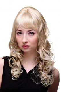 Perücke Damen Frauen lang lockig gelockt Blond Mix Pony strähnig M-103 60cm
