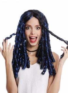 Perücke Damen Karneval Halloween lang schwarz blaue Strähnen Korkenzieherlocken