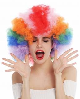 Perücke Afro Herren Damen regenbogenfarben bunt XXL Volumen Wig 31938P-coloured