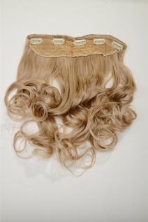 Clip-In Extension Haarverlängerung breit hitzefest 5 Clip lockig Blond Mischung - Vorschau 2