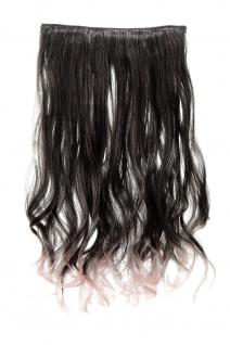 Haarteil breit Haarverlängerung 5 Clips wellig zweifarbig Schwarz-Hellrosa-Mix