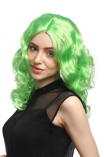 Perücke Damen Karneval Fasching lang Volumen Locken lockig Mittelscheitel grün