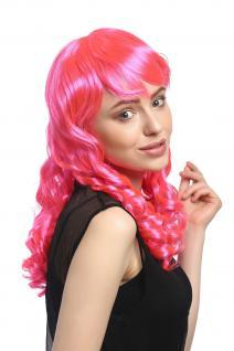 Perücke Damen Karneval Fasching Cosplay Korkenzieher Locken lang Pony rosa pink - Vorschau 3