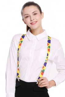 Hosenträger Suspenders Karneval Halloween gelb bunt Punkte Clown Zirkus BB-038