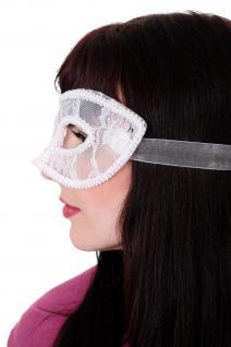 Venezianische Maske Damenmaske Halbmaske Weiß Spitze Maskenball Gothic LS-002 - Vorschau 2