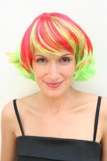 KNALLIG! Party Perücke Rot Gelb Wig Disco Kess