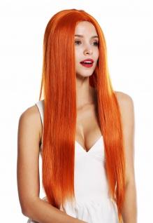 Perücke Damenperücke sehr lang glatt Mittelscheitel Orange-Rot K9293L