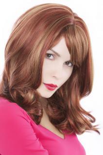 Perücke, Wig, brünett-rot-blond, Pony, glatt, Länge: ca. 45 cm, GFW75-350H27