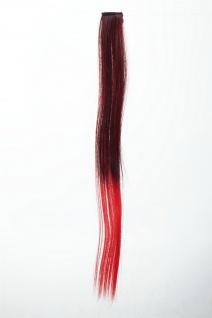 1 Clip-In Extension Strähne Haarverlängerung glatt 45cm Ombre zweifarbig Rot