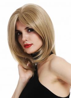 Perücke Damenperücke Frauen kurz schulterlang glatt Longbob Blond Mittelblond