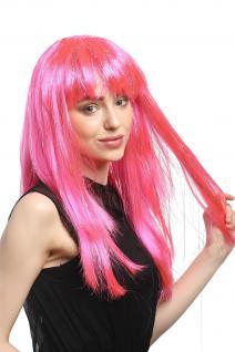 Perücke Karneval Fasching Damen lang glatt Pony rosa pink Glitter Strähnen XR003 - Vorschau 2