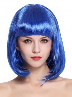 Perücke Damenperücke Karneval Longbob Bob schulterlang glatt Pony Blau 0073-3
