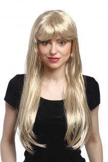 Perücke Damen Karneval Fasching lang glatt Pony Blond Hellblond Goldmarie 60 cm - Vorschau 1