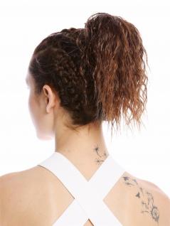 Haarteil Zopf kurz voluminös lockig Krepplocken gekreppt Kinks Kastanie Braun