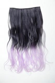 Extension Haarverlängerung 5 Clip-In lockig zweifarbig Ombre Schwarz-Lila 50cm