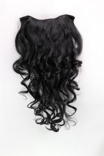 Clip-in Haarteil mit 7 Klammern, 3/4 Perücke, schwarz, Länge: ca. 50cm, H9503-1B