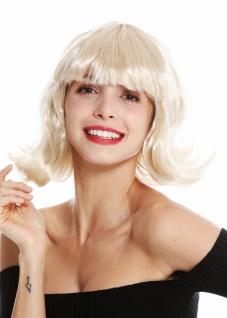 Perücke Damen Karneval kurz Longbob Bob blond geschwungene Spitzen Pony 90793