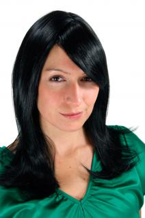 Damen Perücke Wig schwarze Haare glatt glänzend lang Haarersatz 50 cm 3120-1B