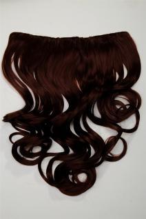 Clip-In Extension Haarverlängerung breit hitzefest 5 Clip lockig dunkel Rotbraun