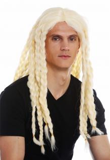 Perücke Karneval Halloween Herren Damen lang gelochten Zöpfe blond Wikinger