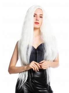 Perücke Damenperücke lang voluminös gekreppt Mittelscheitel Platin Blond