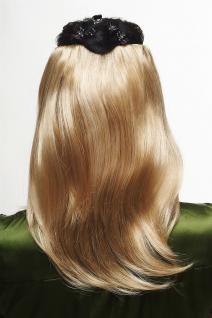 Clip-In Haarteil 5 Klammern Halbperücke mittellang glatt Blond Mix N535-A-24H613