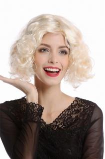 Perücke Damen Karneval 20er Hollywood Diva kurz lockig Mittelscheitelhellblond