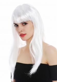 Perücke Karneval Damen lang glatt Pony weiß Fee Schneekönigin Perrücke Frau