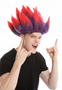 Perücke Dame Herren hochtoupiert Spitzen Dämon Teufel Troll Blume Rot-Blau Rot
