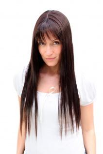 Damen Perücke natürlicher Brünett-Mix lange glatte Haare Pony 60 cm 9293-2T33