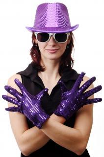 Handschuhe Fasching Karneval Revue Cabaret Pailletten Lila 80er VQ-021-PURPLE - Vorschau 1