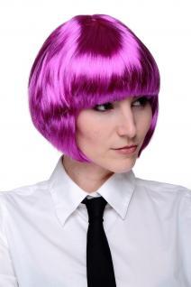 Party Perücke Bob Lila/Pink Disco Kurz & Frech Bobschnitt Frisur Go Go Girl NEU