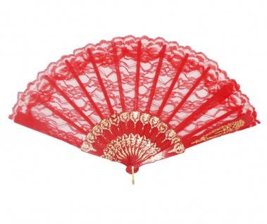 Barock Viktorianisch Damenfächer Fächer Edeldame Adlige Königin Rot Gold