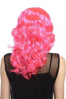 Perücke Damen Karneval lang Volumen Locken lockig Mittelscheitel rosa pink - Vorschau 3