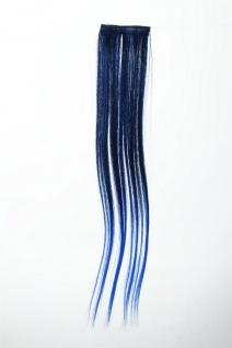 Breite Extension 2 Clips Strähne Haarverlängerung glatt Ombre 45cm Blau