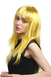 Perücke Karneval Fasching Damen lang glatt Pony gelb Glitter Strähnen XR-003 - Vorschau 2