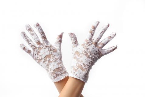 Handschuhe Spitze Spitzenhandschuhe Damen kurz Weiß Gothic Viktorianisch Barock