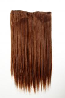 Haarteil Haarverlängerung breit 5 Clips dicht glatt Kupferbraun 60 cm L30172-30