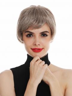 Perücke Damen Monofilament kurz Pagenkopf glatt Blond-Mix gesträhnt
