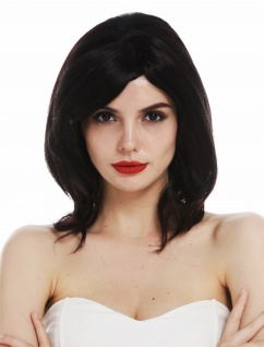 Perücke Monofilament Damen Frau schwarz rote Strähnchen glatt voluminös