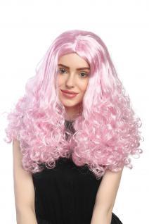 Perücke Damen Karneval Prinzessin Lang Mittelscheitel Lockig Helles Pink Rosa