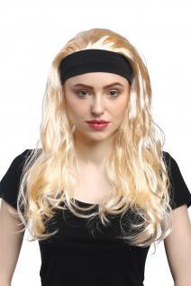 Perücke Damen Karneval Halloween Hellblond Lang Glatt elastisches Haarband 80er