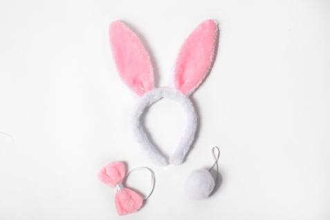 Karneval Halloween Kostüm Set Häschen Bunny Pink & Weiß Ohren Schwänzchen Fliege - Vorschau 2